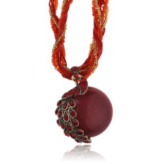 HKS Chic Jewelry Peacock Pendant Necklace Vintage Beaded Chain Cute Crystal (Red) (Intl)
