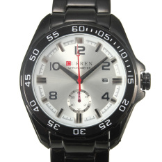 HKS Curren Fashion Black Mens Stainless Steel Date Military Sport Quartz Watch (Intl)