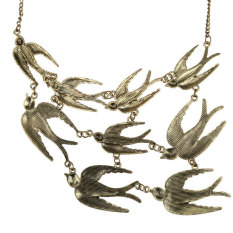 HKS Exaggerate Flying Swallow Pendant Necklace Sweater Chain For Girl Woman (Intl)