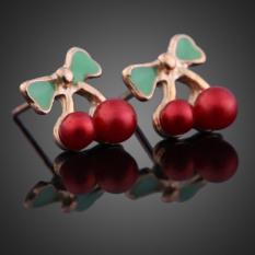 HKS Fashion Korean Women Sweet Red Cherry Green Leaves Earrings Ear Studs (Intl)