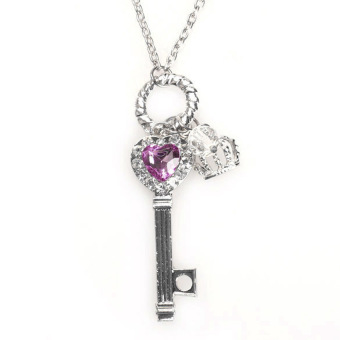 HKS Fashion Shining Rhinestone Key Crown Pendant Long Necklace Silver Chain