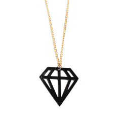 HKS Fluorescence Hollow Out Diamond Style Long Sweater Chain Necklace Black (Intl)