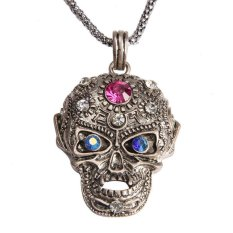 HKS Girl Boy Cool Skull Pendant Necklace Glittering Rhinestone Antique Silver