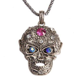 HKS Girl Boy Cool Skull Pendant Necklace Glittering Rhinestone Antique Silver