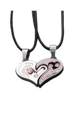 HKS Heart Pendant Necklace Set Of 2 (Silver) (Intl)