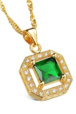 HKS HKS61143574676AI AAA Zircon Necklace And Earrings Jewelry Set Green (Intl)