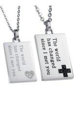 HKS HKS8275962567AI Titanium Steel Silver Square Keepsake Lovers Necklace White