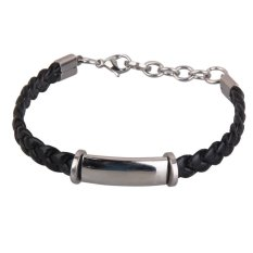 HKS Hot Fashion Simple Unisex Stainless Steel Rubber Silicone Weave Bracelet (Intl)