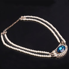 HKS Luxury Multilayer Imitate Pearl Rope Chain Rhinestone Crystal Gem Necklace (Intl)
