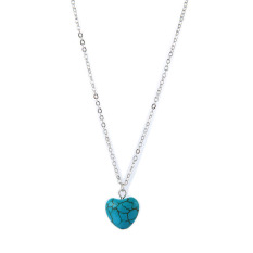 HKS New Simple Heart-shaped Turquoise Pendant Necklace Women Accessories Silver (Intl)