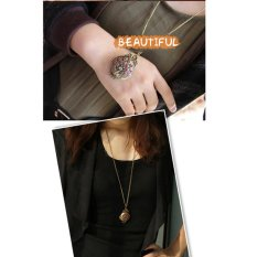 HKS New Vintage Bronze Carved Peacock Crystal Pendant Long Chain Sweater Necklace (Intl)
