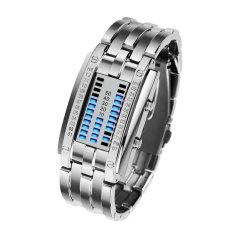 HKS New Womens Waterproof Stainless Steel Digital LED Bracelet Watch Silver (Intl)