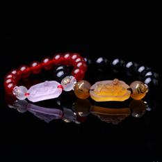 HKS Open Light Agate Ox Six People Five Methods Wishful Maitreya Statue Prayer Beads Bracelets Bracelet Male and Female Models Jewelry Mascot - Mens 14MM (Intl)