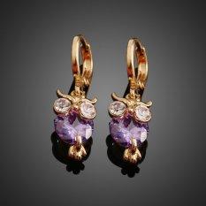 HKS Pair Of 18K Gold Plated Owl Shape Purple Zircon Inlaid Ear Stud Earrings (Intl)