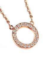 HKS Rose Gold Plated Clear Rhinestone O Letter Charm Pendant Necklace For Women (Intl)