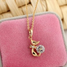 HKS Sexy Cat Necklace Girl Crystal Pendant Fashion Jewelry 18K Gold Filled (Intl)
