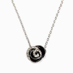 HKS Shining Rhinestone Rose Pendant Necklace Girls Lady Fashion Ornaments (Intl)