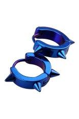 HKS Titanium Rivet Spike Hoop Earrings (Blue) (Intl)