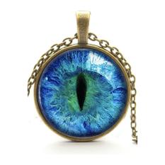 HKS Vintage Pendant Necklace Cat Eye Rhinestone Blue + Bronze (Intl)