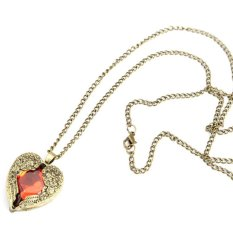 HKS Vintage Women Red Rhinestone Peach Heart Wing Pendant Necklace Chain (Intl)
