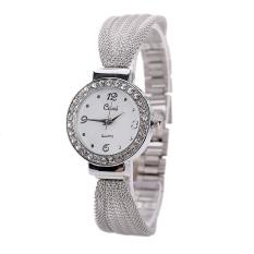 HKS Women Bangle Bracelet Stainless Steel Crystal Dial Wrist Watch Silver (Intl)