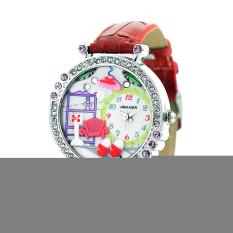 HKS Women Polymer Clay Crystal Red Leather Quartz Wristwatch (Intl)
