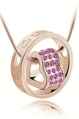 HKS Womens Crystal Chain Rhinestone Love Heart Ring Pendant Golden Purple (Intl)