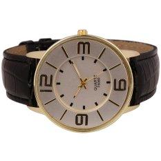 HKS Womens Ladies Fashion Numerals Gold Dial Leather Analog Quartz Watch (Black) (Intl)
