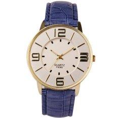 HKS Womens Ladies Fashion Numerals Gold Dial Leather Analog Quartz Watch (Blue) (Intl)