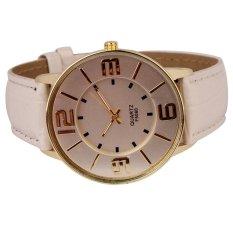 HKS Womens Ladies Fashion Numerals Gold Dial Leather Analog Quartz Watch (White) (Intl)