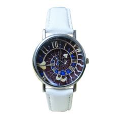HKS Womens Mens Galaxy Heart Faux Leather Quartz Analog Watch White (Intl)