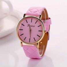 HKS Womens Watches Grid Unisex Leather Quartz Dress WristWatch Pink (Intl)