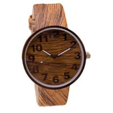 HKS Wood Grain Quartz Women & Men Casual Watch (Brown) (Intl)