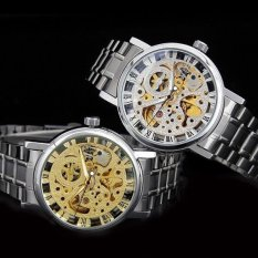 Hollow Skeleton Roman Numerals Silvery Band Automatic Mechanical Mens Wrist Watch (Gold
