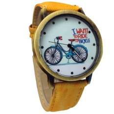 Hot!2015 Fashion Unisex Watches Casual Fashion Jean Strap Bicycle Watches New Yellow (Intl)