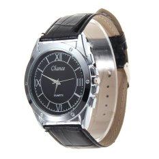 Hot Business Dress Leather Wristwatch Mens Top Quartz Watch Black (Intl)