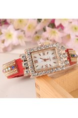 Hot Fashion Women Retro Chains Synthetic Leather Strap Watch Bracelet Wristwatch (Red)
