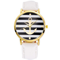 "HOT Fashion Women""s Ladies Geneva Striped Anchor Style Leather Watch New White - Intl"
