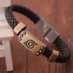 Hot Naruto Bracelet Leaf Mark Brown Wristband Cosplay Bangle For Anime Fan- - intl