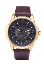 Hot Sale Curren 8123 Luxury Brand Quartz Watches Leather Strap Sports Waterproof Quartz Watch Gold Shell Black Surface