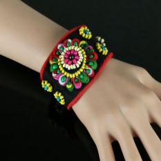 Hot Sale Fashion 6 Style Handmade Cloth Bracelet Layer Leather Bracelet Charm Bracelets Bangles For Women Buttons Adjust Size Ethnic Style Bracelet