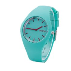 Hot Selling Fashion Simple Style Geneva Silicone Quartz Watch Jelly Women Dress Watches Feminine Green