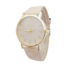 Hot Selling Geneva Ladies Fashion Watch Quartz Faux Leather Band Wrist Watch Casual Luxury Style (Beige) (Intl)