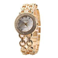 Hot Selling Women Stainless Steel Rhinestone Crystal Dial Chain Wristwatch (Intl)