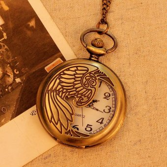 huazhong Bronze Pocket Watch Necklace Quartz Pendant Vintage Unisex Men Women With Long Chain New Arrival (bronze) - intl