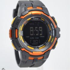 IGear Digital - Jam Tangan Sport Pria - Rubber Strap - IGear I55 Black Orange