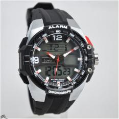 IGear Dual Time - Jam Tangan Sport Pria - Rubber Strap - IGear I58 Silver Black