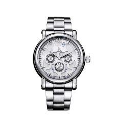 IK 98128 Multifunction Watch Female Form Three Six-pin Automatic Mechanical Watches Couple Watches White Face Silver Shell
