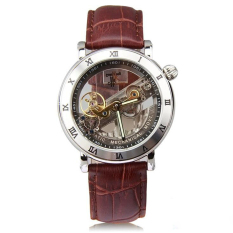 IK Top Brand Luxury Self-Wind Automatic Mechanical Watches Men Rose Gold Case Genuine Leather Skeleton Watch Relogios Masculino (Brown)