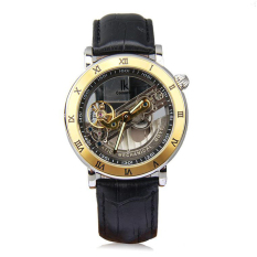 IK Top Brand Luxury Self-Wind Automatic Mechanical Watches Men Rose Gold Case Genuine Leather Skeleton Watch Relogios Masculino (Gold&Black)